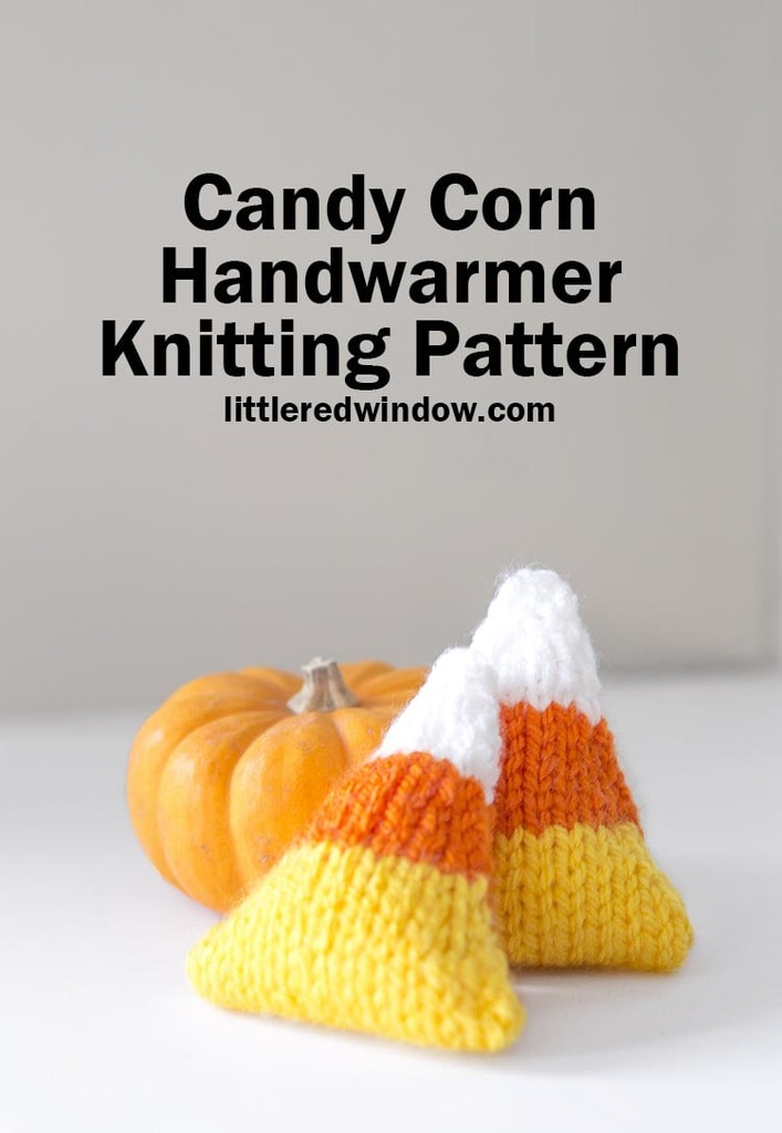 This adorable knit candy corn handwarmer knitting pattern is filled with rice to heat and tuck in your pockets to keep you toasty warm this October!