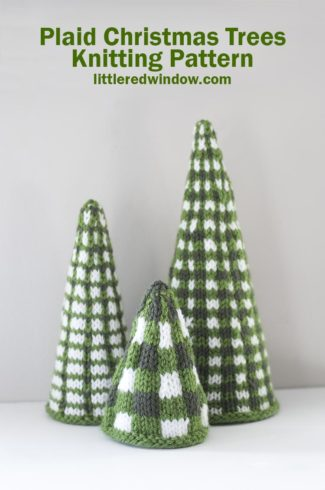 Plaid Christmas Trees Knitting Pattern