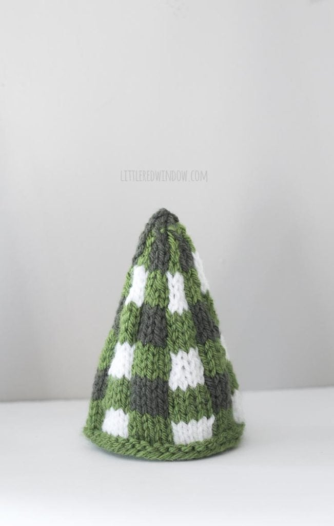 small green and white knit buffalo plaid christmas tree
