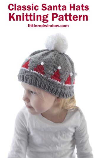 This adorable Classic Santa Hats Knitting Pattern is a super fun knit, the little santa hats even have white pom poms on top, perfect for your baby or toddler this Christmas!
