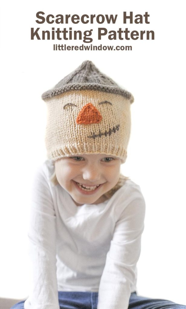 Knit up an adorable scarecrow hat knitting pattern with a sweet smile for your baby or toddler this fall!