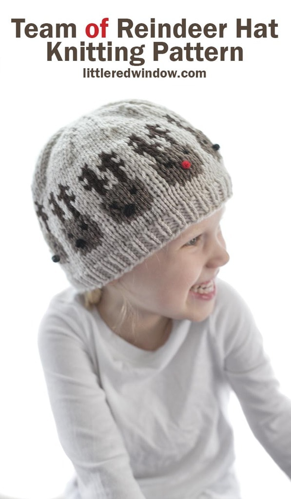 This cute little team of reindeer hat knitting pattern has an entire team of cute reindeer around the brim ready to pull Santa's sleigh!