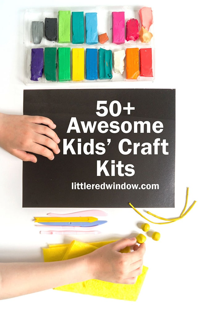 black paper a childs hands colorful blocks of clay and the words 50 plus awesome kids craft kits