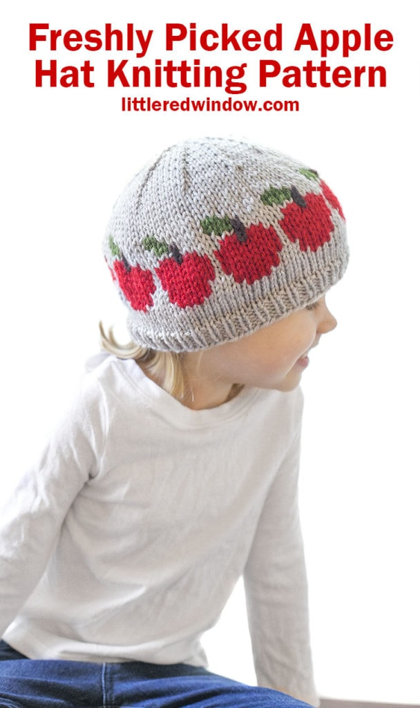 The Freshly Picked Apple Hat Knitting pattern is the perfect fall knit for your baby or toddler!