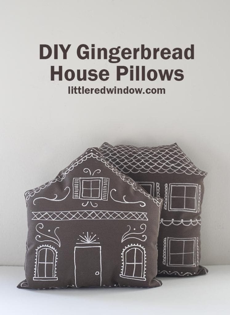 "Make these cute DIY gingerbread house pillows complete with ""frosting"" decoration for Christmas with just a few supplies!"