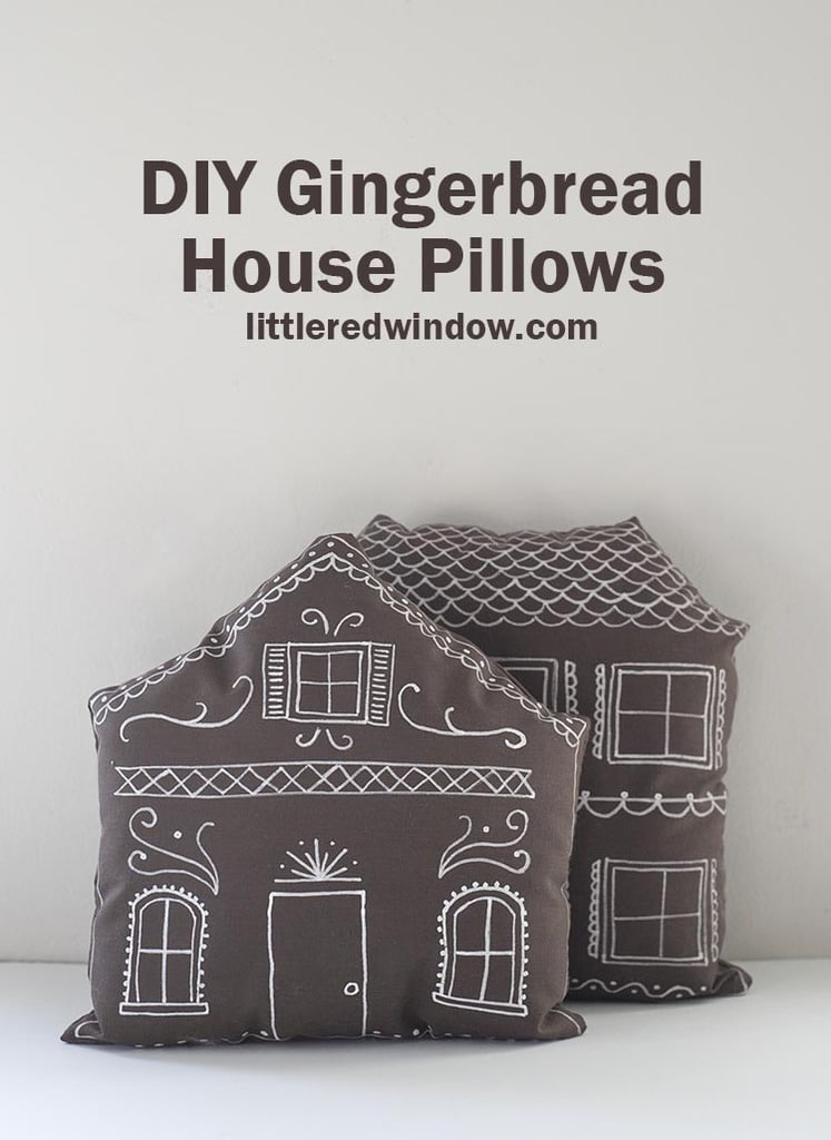 """Make these cute DIY gingerbread house pillows complete with """"frosting"""" decoration for Christmas with just a few supplies!"""