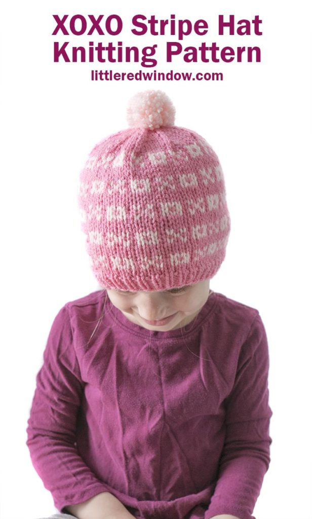 This adorable Valentine's Day XOXO stripe hat knitting pattern has a cute pattern of x's and o's, perfect for your baby or toddler!