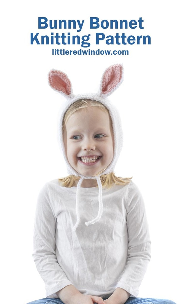 This adorable baby bunny bonnet knitting pattern is the perfect Spring knitting pattern for your baby or toddler!