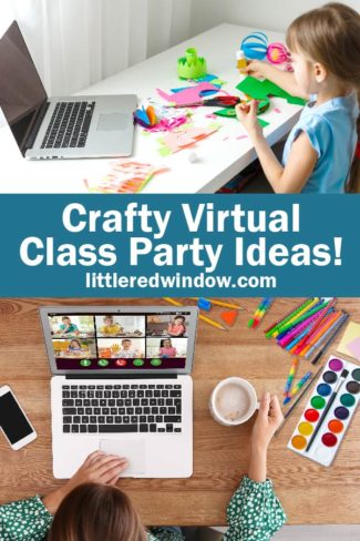 Get some ideas for a fun and crafty virtual class party for your elementary aged kids to do together remotely!