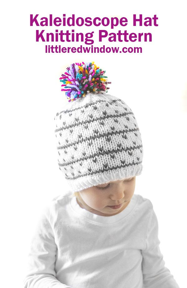 The Kaleidoscope Hat knitting pattern makes a cute winter baby hat with a fun multicolored pom pom on top for your baby or toddler, it's sure to bring a little joy to your winter!