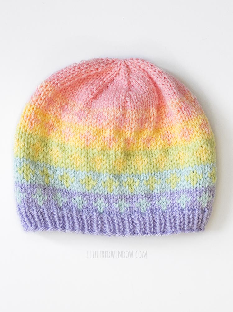 Cross fade pattern from the rainbow fades hats knitting pattern on a white background