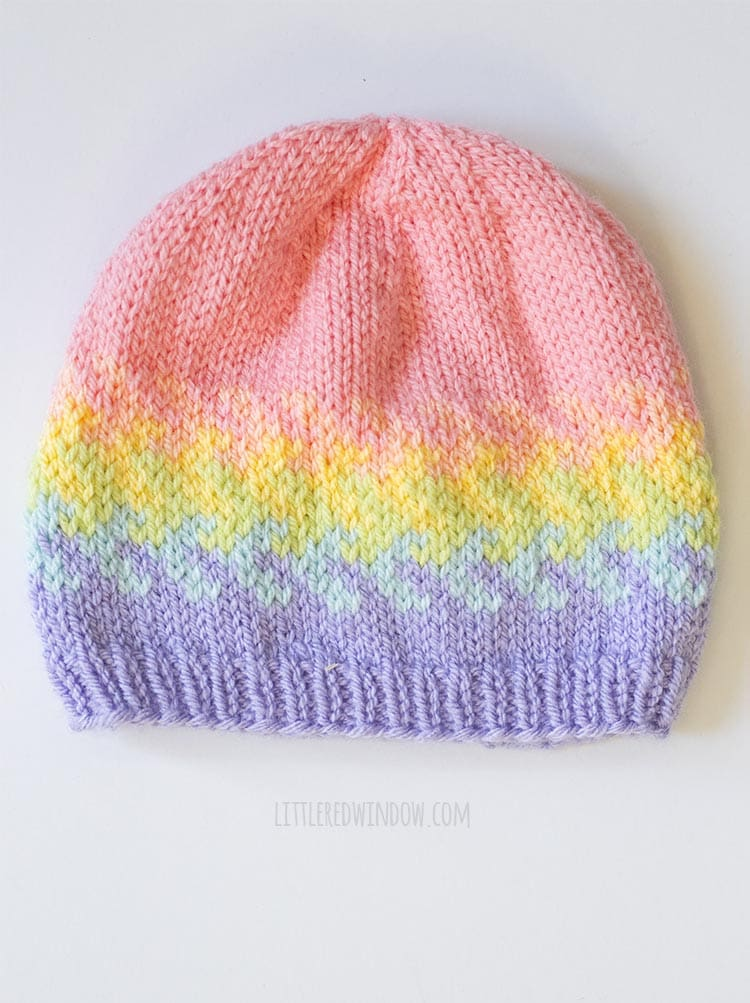 knit arrow fade hat from rainbow fades hats knitting pattern on a white background