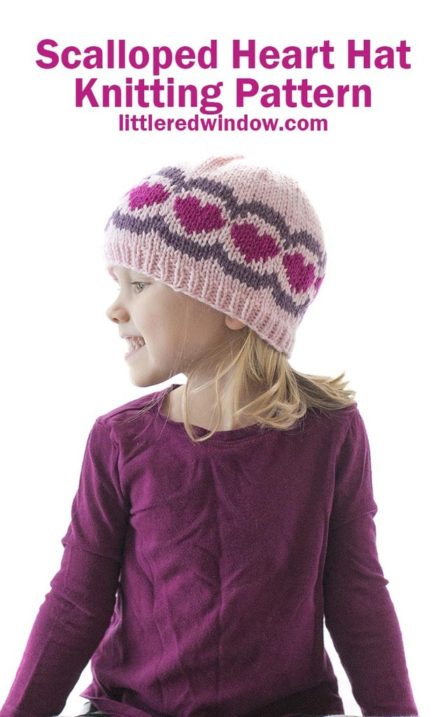 Your baby or toddler will be ready for Valentine's Day with this cute scalloped heart hat knitting pattern!