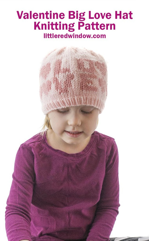 This cute Valentine Big Love Hat is perfect to knit for your baby or toddler for Valentine's Day!