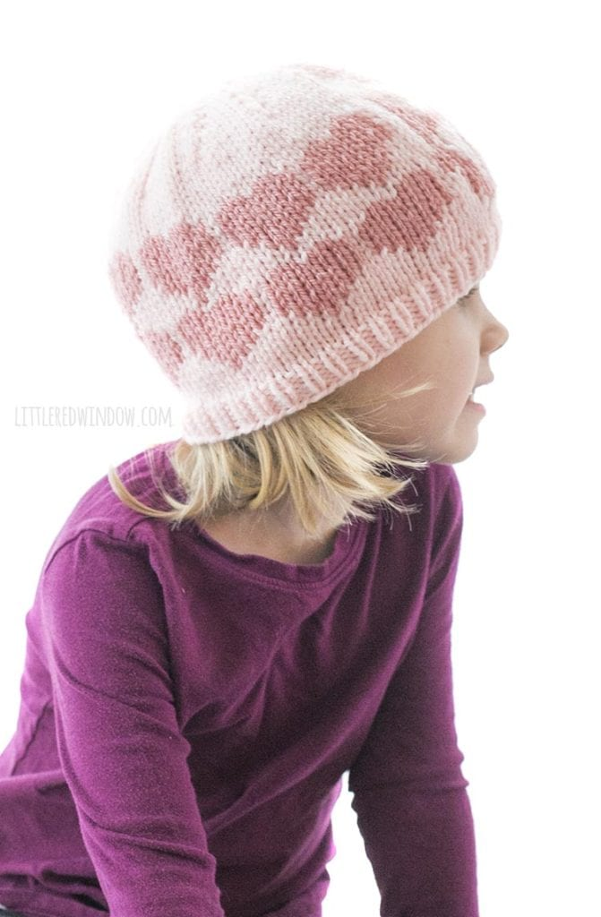 side and back view of hearts on the Valentine Big Love hat knitting pattern