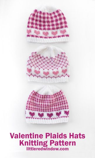 Mix and match all three patterns in any of four sizes for your baby or toddler with this cute Valentine Plaids Hats knitting pattern!