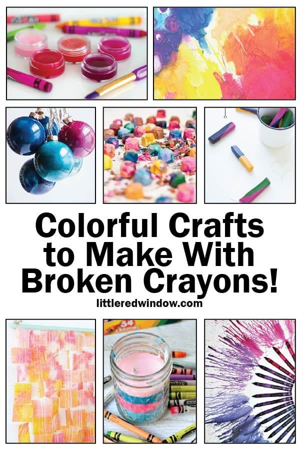 image showing eight different craft projects to make with old broken crayons