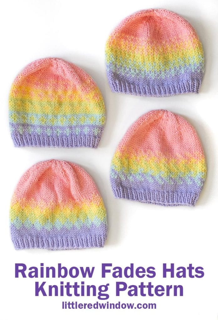 Knit any of four different rainbow fades hats in any of four sizes with this cute baby hat knitting pattern!