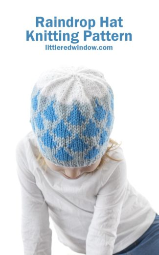 This cute raindrop hat knitting pattern has blue raindrops and a white fluffy cloud on top, it's a perfect spring knit for your baby or toddler!