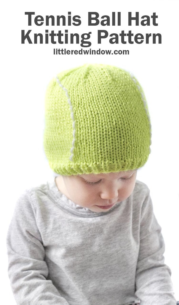 This adorable tennis ball hat knitting pattern will serve up a lot of smiles for your baby or toddler! It's LOVE - LOVE!