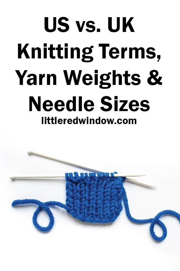 blue square of knitting with knitting needles on a white background