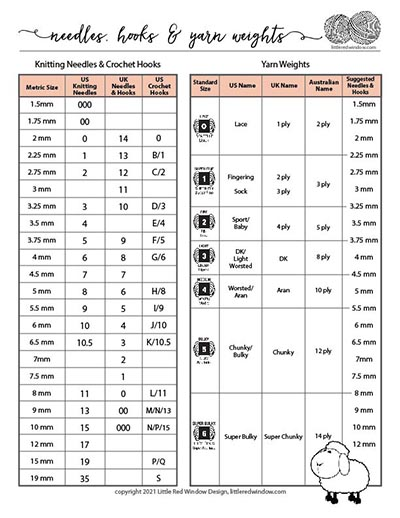 US vs UK knitting needles crochet hook and yarn weight sizes conversion chart