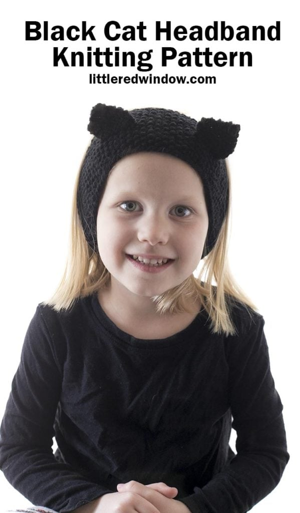 Smiling girl wearing knit black headband with cat ears on top