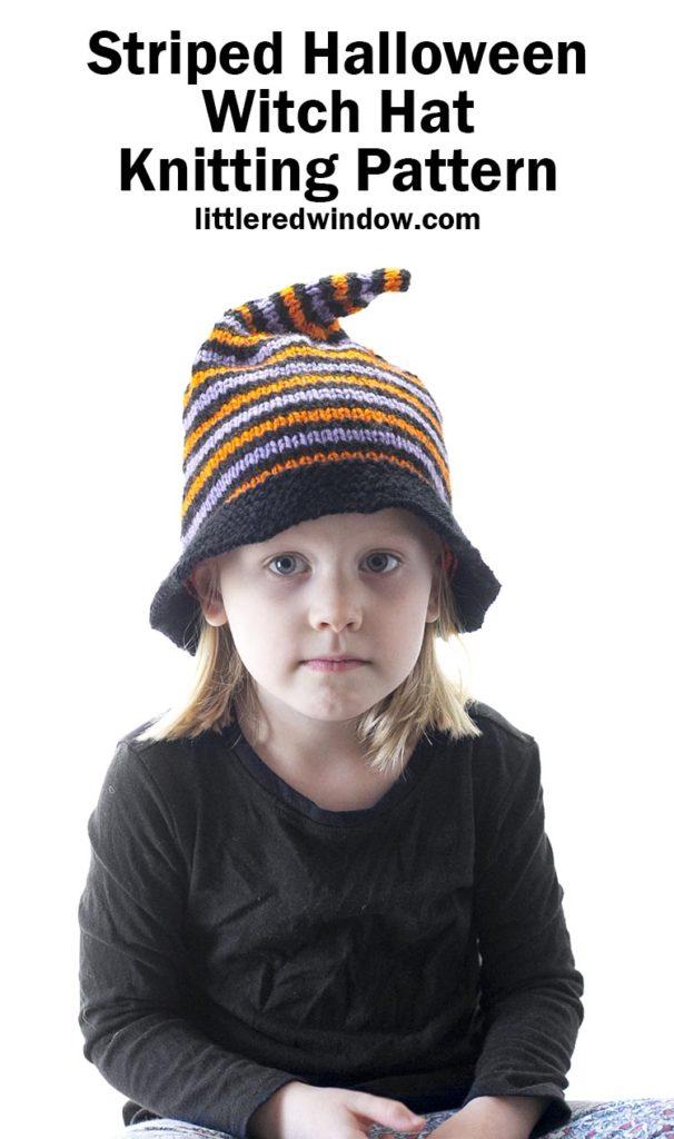 menina de camisa preta com amostra de padrão de tricô listrado de chapéu de bruxa do dia das bruxas