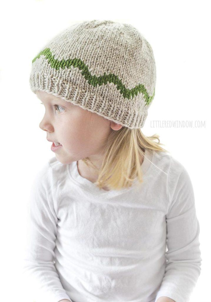 vista lateral do padrão de tricô de chapéu de cobra com corpo de cobra deslizando em volta do meio do chapéu de malha marrom