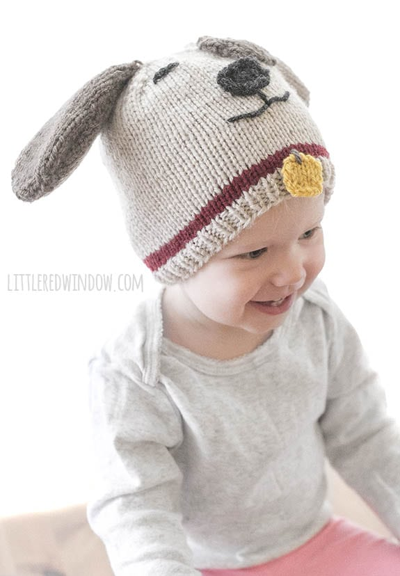 smiling baby wearing a tan and brown puppy dog hat with red collar and yellow tag looking off to the right
