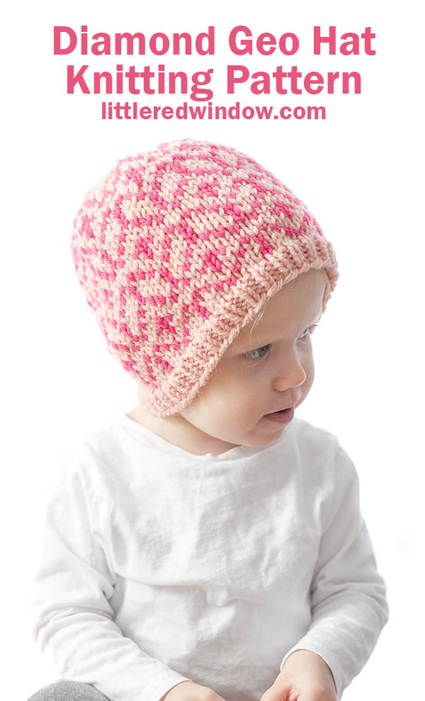 girl in white shirt looking off to the right and wearing a knit hat with light and dark pink diamond geo pattern on it