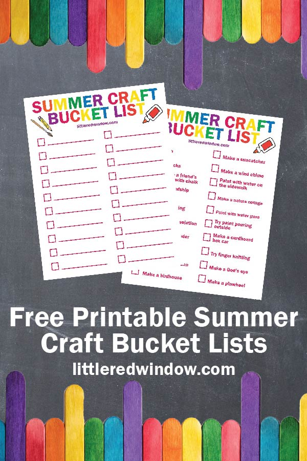 Plan your summer fun with this free printable summer craft bucket list, either fill your own and choose from a fun list!