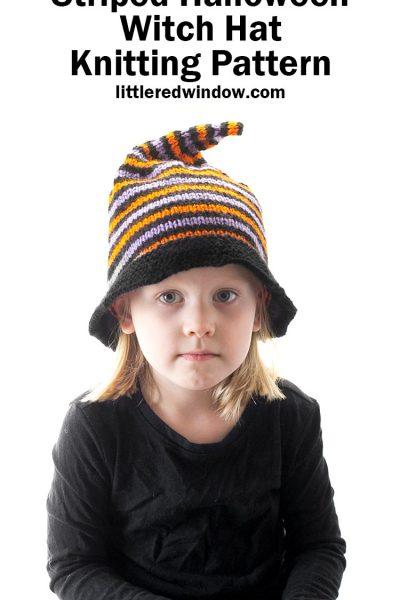 little girl in black shirt wearing striped halloween witch hat knitting pattern sample